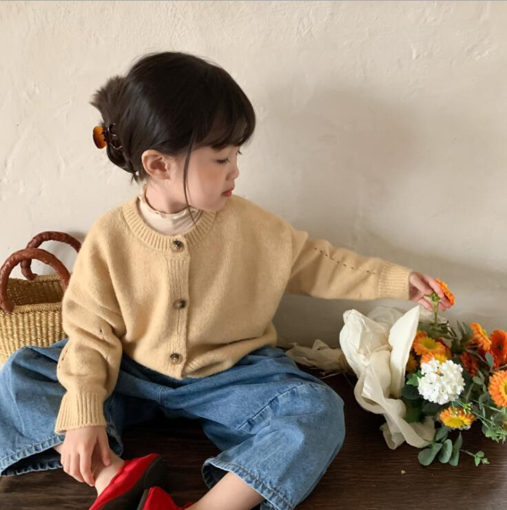 Jackets 2021 Arrival Girls Boys Knitted Sweaters Autumn Full Sleeve Fashion Kids Cardigan Sweater 2-7 Years CO973