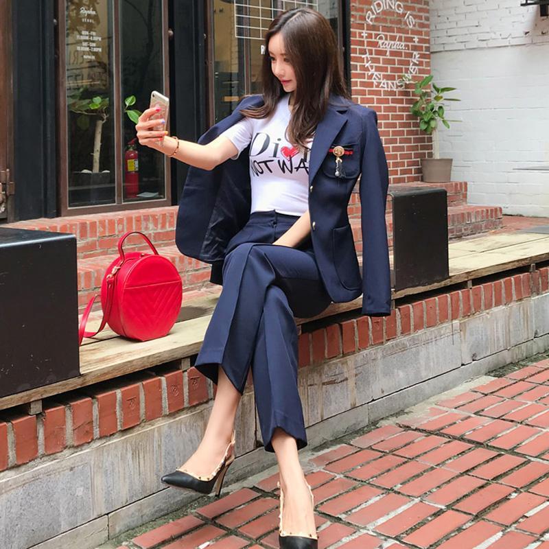 Women's Suits & Blazers Office Lady OL Work Uniforms Sets Womens Set 2 Pieces Women Slim Suit Blazer Pant For