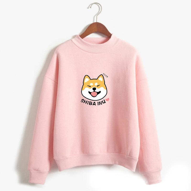 Linda shiba inu impresión con capucha sudaderas con capucha camisa sudadera jersey Harajuku 2021 Moda coreana Colegiala Streetwear Streetwear Tops de invierno S