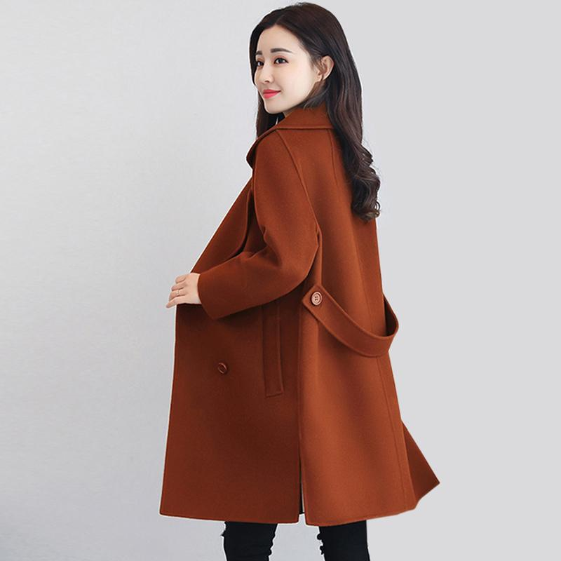 Women's Wool & Blends Autumn And Winter Casual Coats Women Fashion Turn-down Collar Long Sleeve Outwear Solid Color Double Breasted Jacket