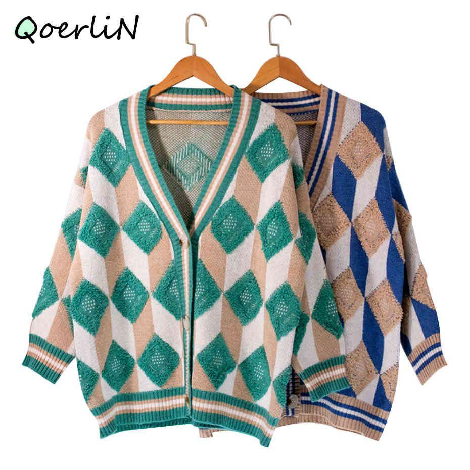 Heritage Thrift Korean Autumn Winter Diamond Sweater Loose Cardigan Womens Vintage New Prep Knitted Top Cardigan Women New 210412