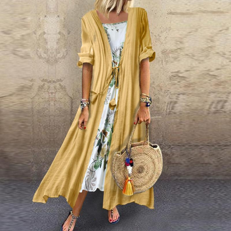 Two Piece Dress Feitong Summer Woman Vintage Boho O-neck Floral Print Lace Two-piece 3/4 Sleeve Dames Jurken Casual Women