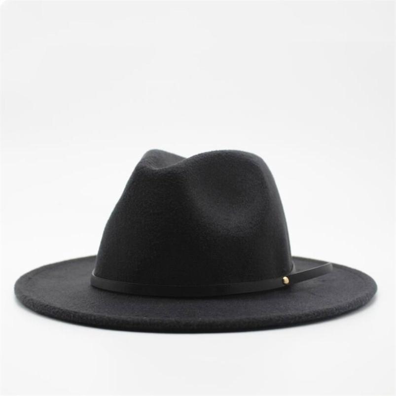 Lã Fedora Hat Hawkins Sentido Boné Livre Brim Senhoras Trilby Chapeu Feminino Mulheres Homens Jazz Church Godfather Sombrero Caps 210608