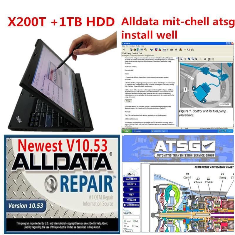 Alldata v10.53 + mit 2015 atsg 2017 auto repair soft-ware in 1tb hdd installed x200t laptop ready use