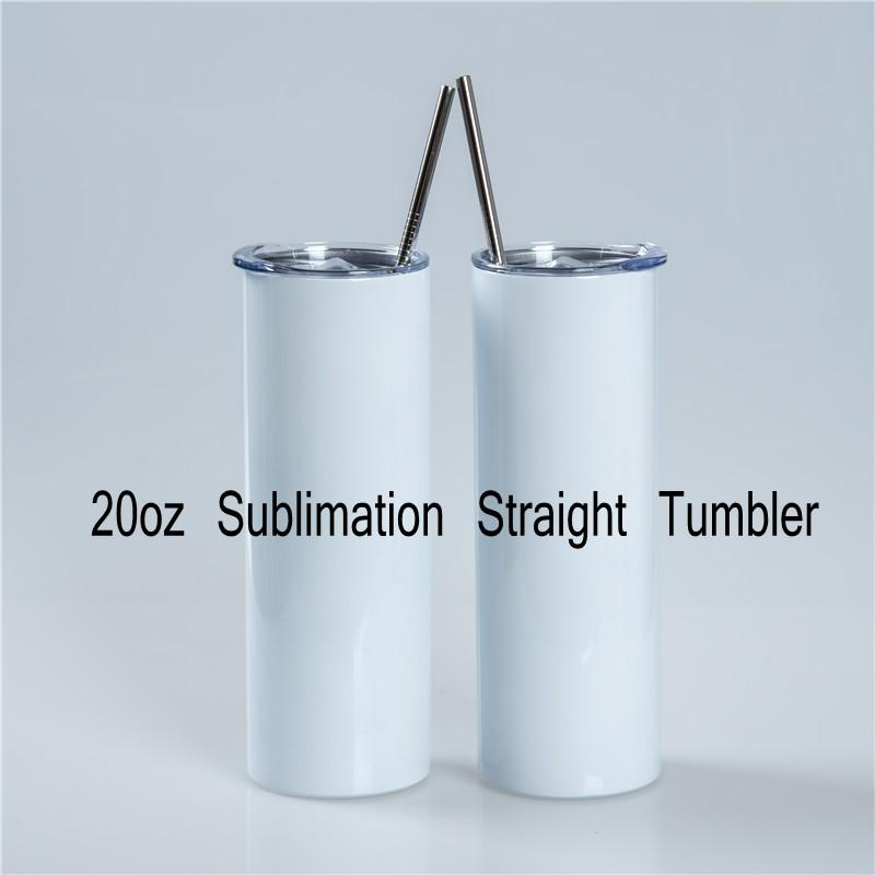 Wholesale 20oz DIY Sublimation Straight Tumbler With Metal Straw Doubel Wall Thermos Cup DHL Fast Delivery