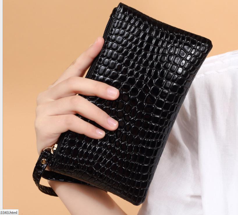 النساء مخلب حقيبة تمساح الحبوب حقيبة يد pu محافظ السيدات الحلوى الألوان محفظة الهدايا التجارية سعة كبيرة بطاقة كوين الهاتف محلات المحلات التجارية