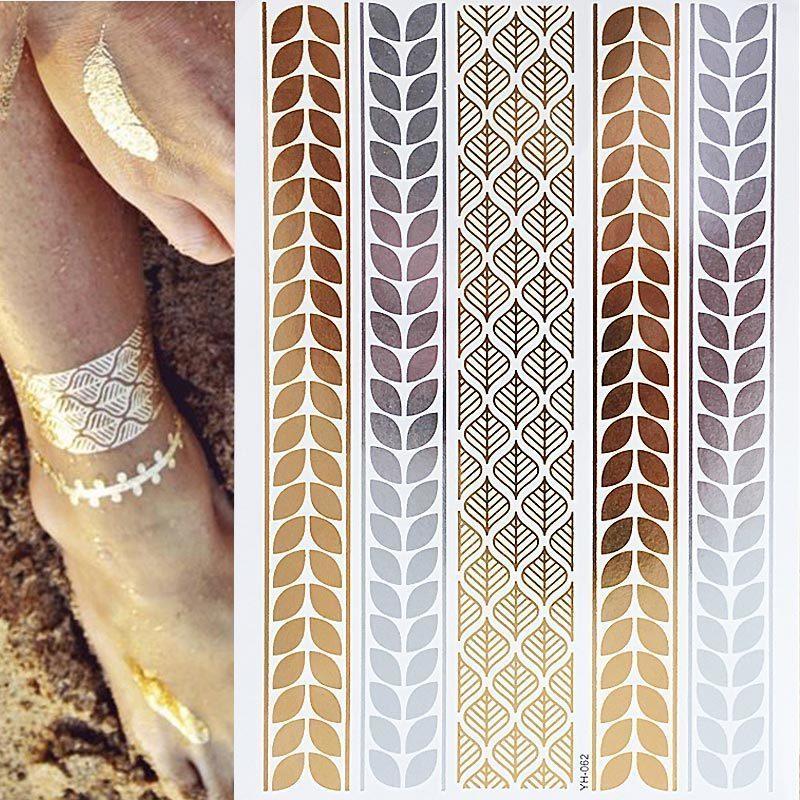 1pcs autocollant de tatouage paillettes Gold Gold Autocollant d'art corporel temporaire pour les filles femmes