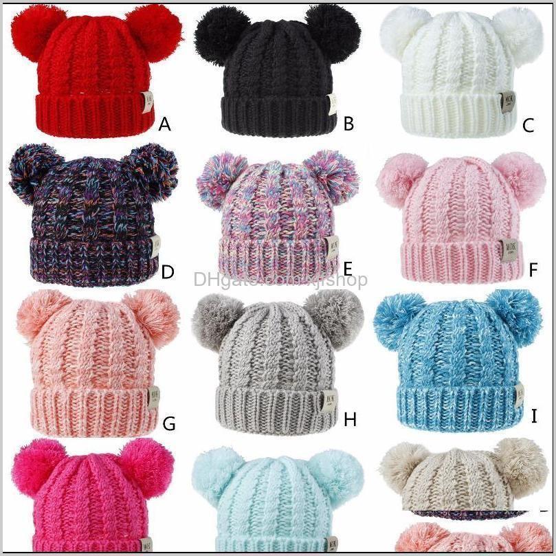 Fashion Mok Kids Bonnet Knitted Caps Visor Cup Childrens Winter Autumn Warm Hats Weave Beanies Unisex Hat Casual Cap Headgear Wlfg 8Zm4C