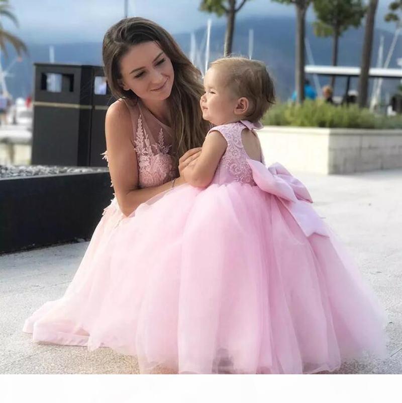 لطيف جميل الوردي الأم و ابنة فساتين السهرة الحفلة الزفاف حزب زهرة الفتيات اللباس طفل العباءات الكرة