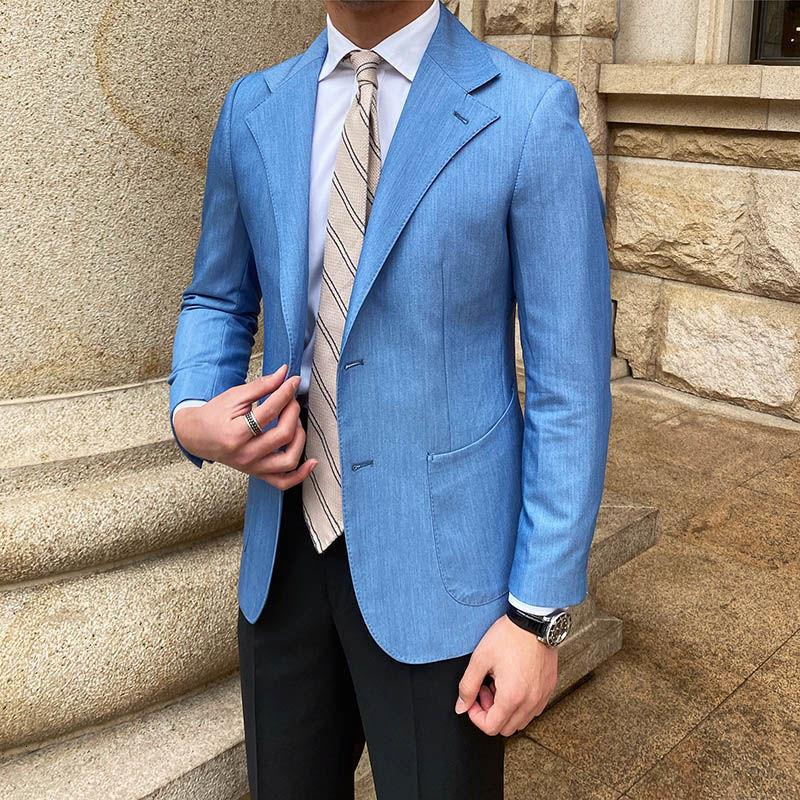 Passt Herren Pendeljeans im Frühling und im Sommer blauen italienischen slimischen Casual-Anzug