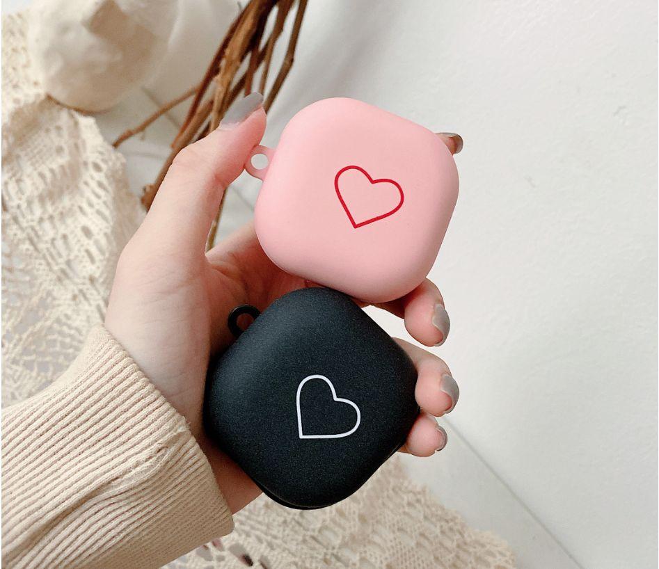 Casos de luxo para Samsung Galaxy Buds Live Love Heart Case Caixa de carregamento Caixa de fone de ouvido Cobertura de capa protetora com gancho