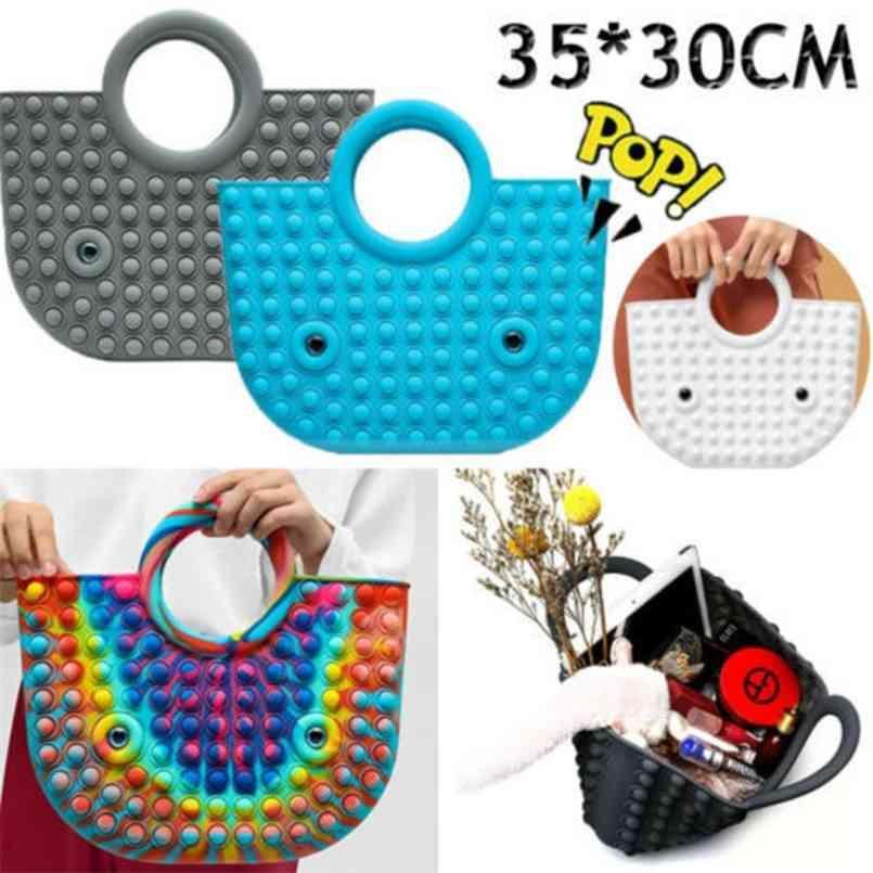 Large Sensory Fidget Bag Push Pops Bubble Popper Hand Bags Rubber Tote Novelty Fidget Puzzle Toys Handbag Sports Beach Waterproof Cosmetic Makeup PurseG83BGCW