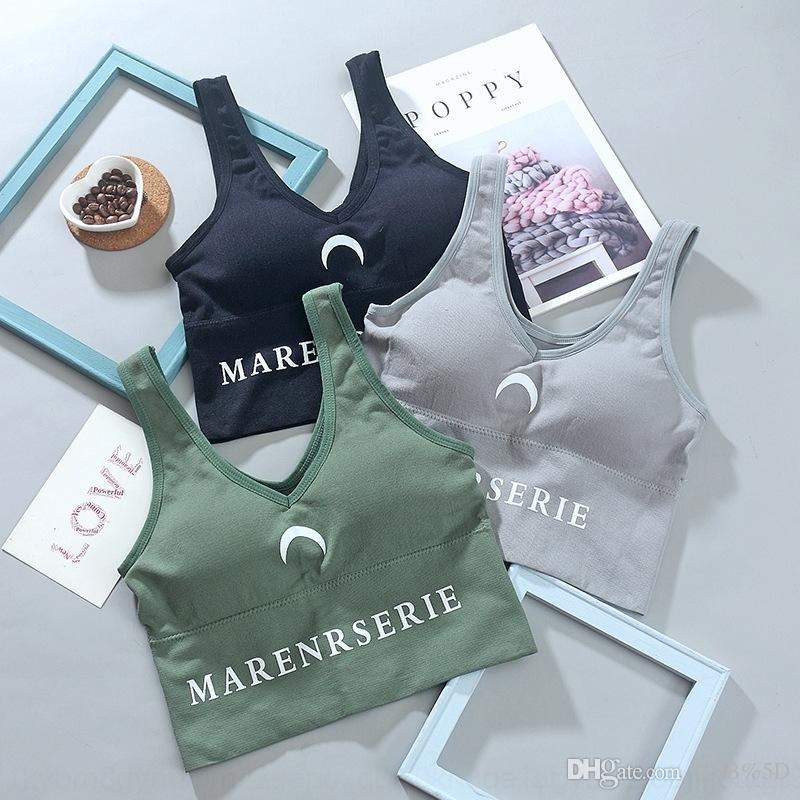 0WX Yoga ropa interior ropa de chaleco japonesa y koreangirls carta de impresión de la ropa interior de las mujeres elásticas reunidas Chaleco deportivo de las mujeres
