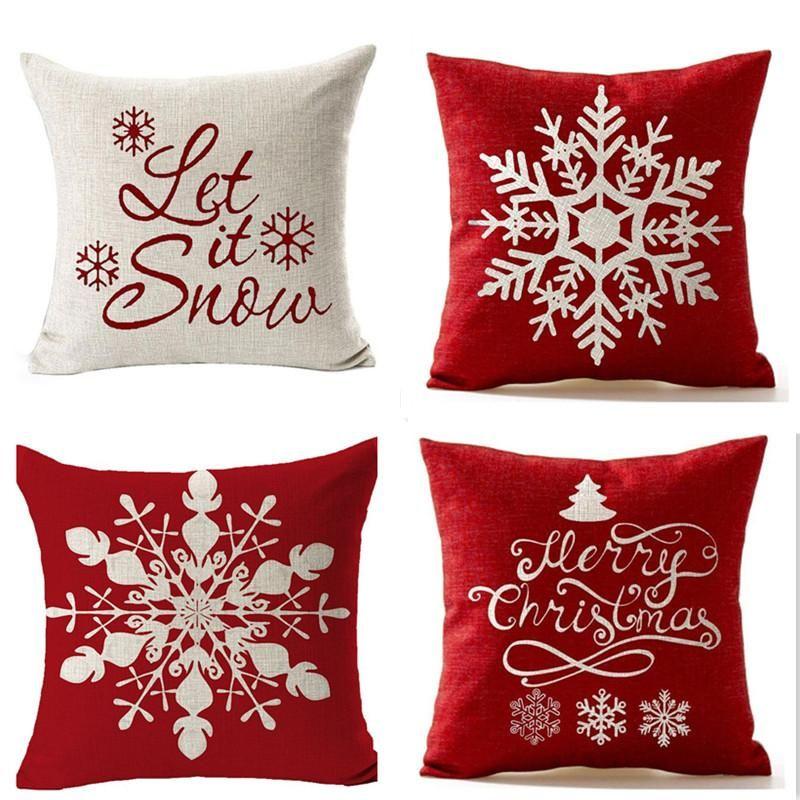 الأزياء ندفة الثلج وسادة يغطي الكتان وسادة القضية السنة الجديدة أريكة المنزل رمي عيد الميلاد الديكور الوسائد غطاء حزب 45 * 45 سنتيمتر