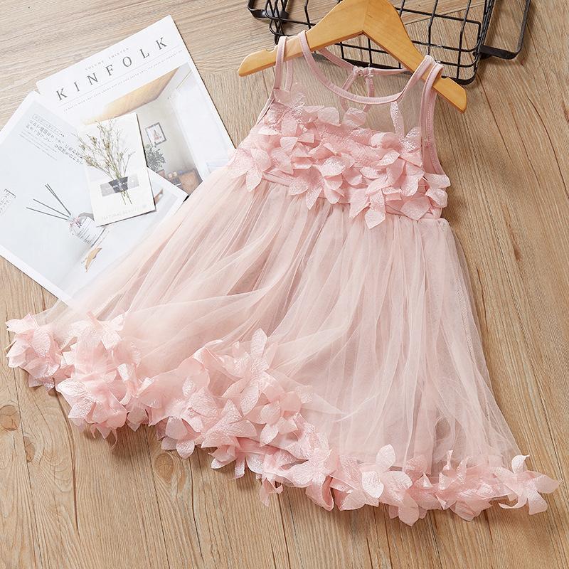 Girl's Dresses Baby Girl Dress Sweet Princess Summer Pettiskirt Lace Flower Petal Vest Sleeveless Mesh