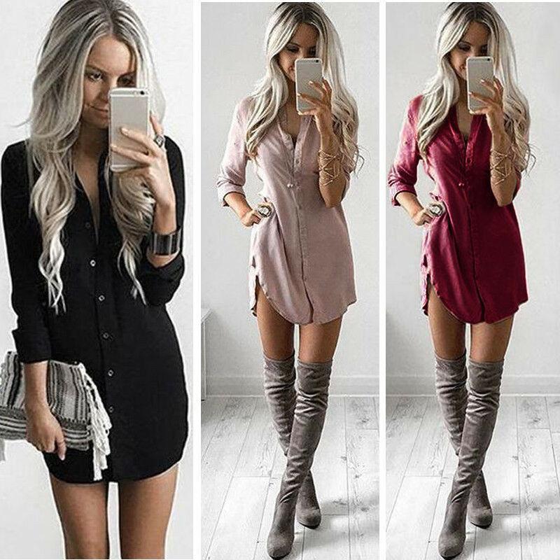 Women Fashion Blouse Shirt Dress Summer Casual Loose Long Sleeve Blouse Tops Casual Dress Asian Size