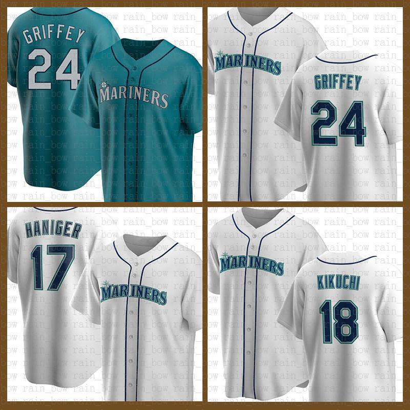시애틀 야구 유니폼 매리너스 맞춤형 24 Ken Griffey Jr. 51 Ichiro Suzuki 11 Edgar Martinez 17 Mitch Haniger 34 Hernandez 51 Randy Johnson