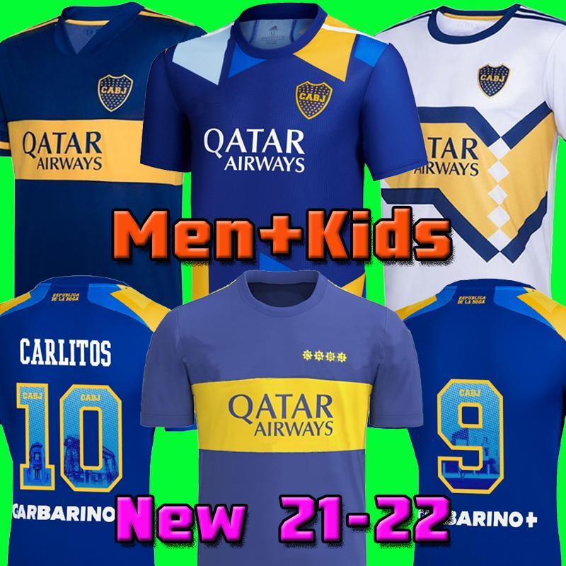 2020 2021 Boca Juniors 20 21 Jersey de football 2022 Carlitos Maradona Tevez de Rossi 22 tiers de la maison 3ème 4ème Thaïlande T-shirt de football Hommes et enfants met uniforme