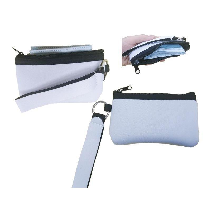 Portable Sublimation Blank Mask Storage Bag With Lanyard Heat Transfer Mini Coin Purse Wallet DIY Gift