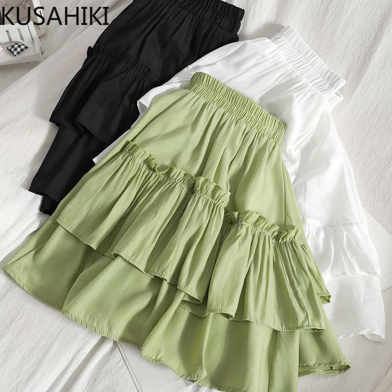 Faltenrock Faldas Mujer Moda Sommer koreanische Rüschen Patchwork Röcke Kausal hohe Taille a-line Mini-Böden 6h411 210603