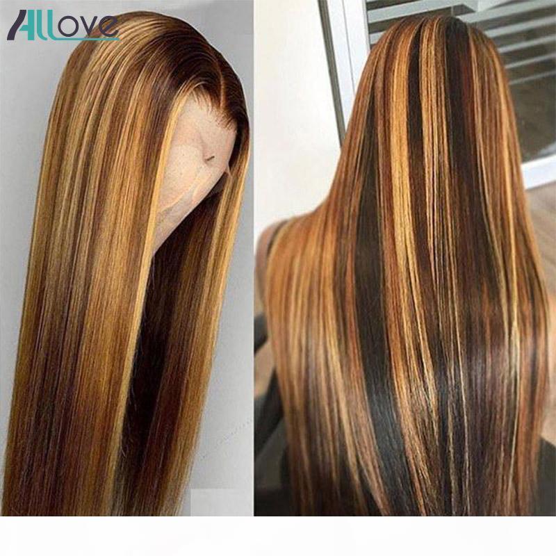 Allove Sightant Straight 4x4 Fermeture Humaine Perruques de cheveux Humain Dentelle Perruques avant Brésilien Burly Body Wave