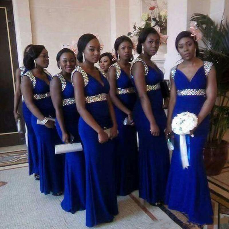 Royal Blue Mermaid Bridesmaid Dresses with Rhinestone Off Shoulder Wedding Guest Dress Zipper Back Floor Length Bride Prom Vestidos