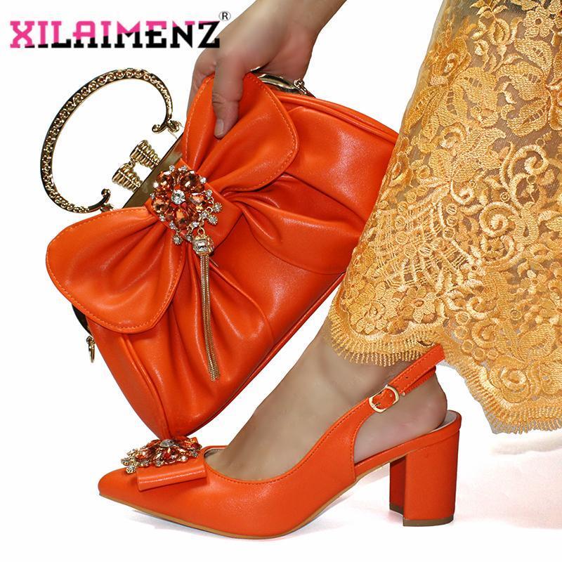 Платье Обувь Оранжевый Цвет Comming Специальный дизайн Нигерийские Женщины Showos Подходящая сумка Установить Офис Дама и для работы