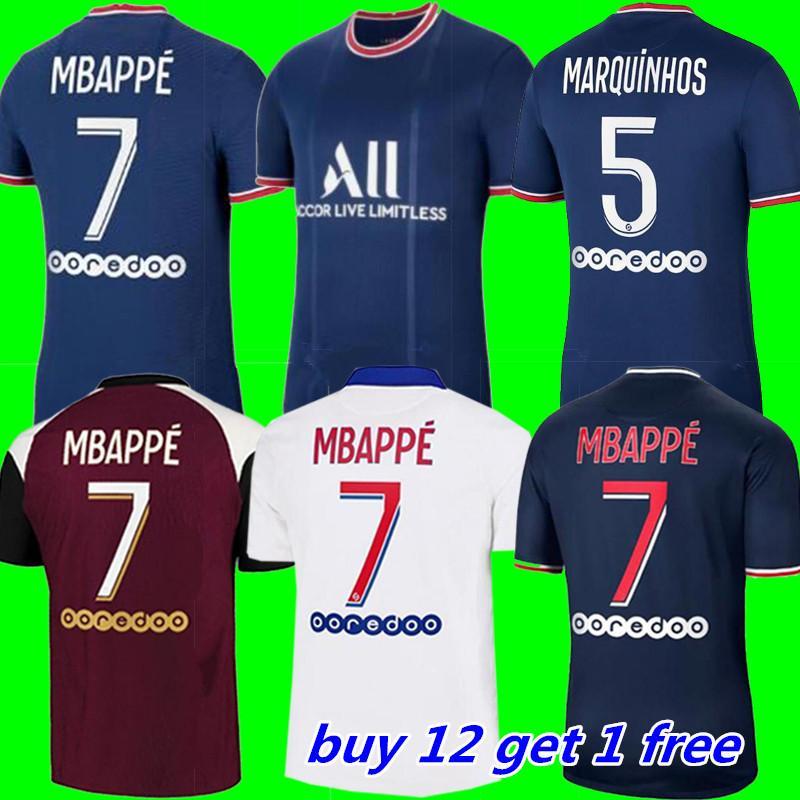 20 21 22 التايلاندية باريس لكرة القدم جيرسي mbappe verratti 2021 2022 marquinhos kimpembe دي ماريا كين كرة القدم الفانيلة قمم الرجال قميص
