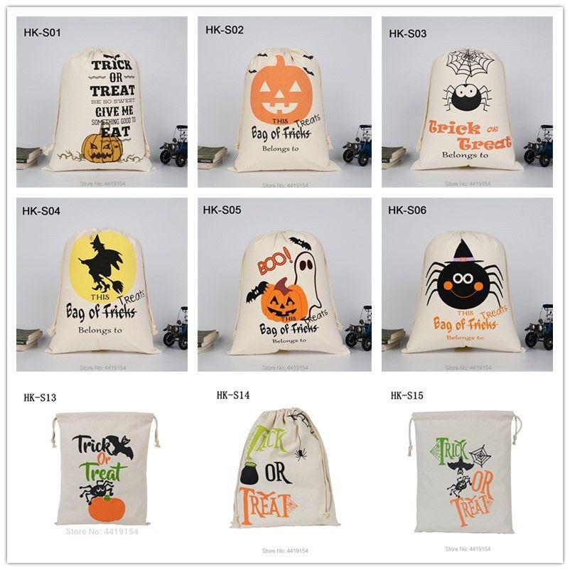 حفلة هالوين اليقطين حمل حقيبة قماش حلوى هدية أكياس خدعة أو علاج الرباط جيب مهرجان الأطراف الإمدادات
