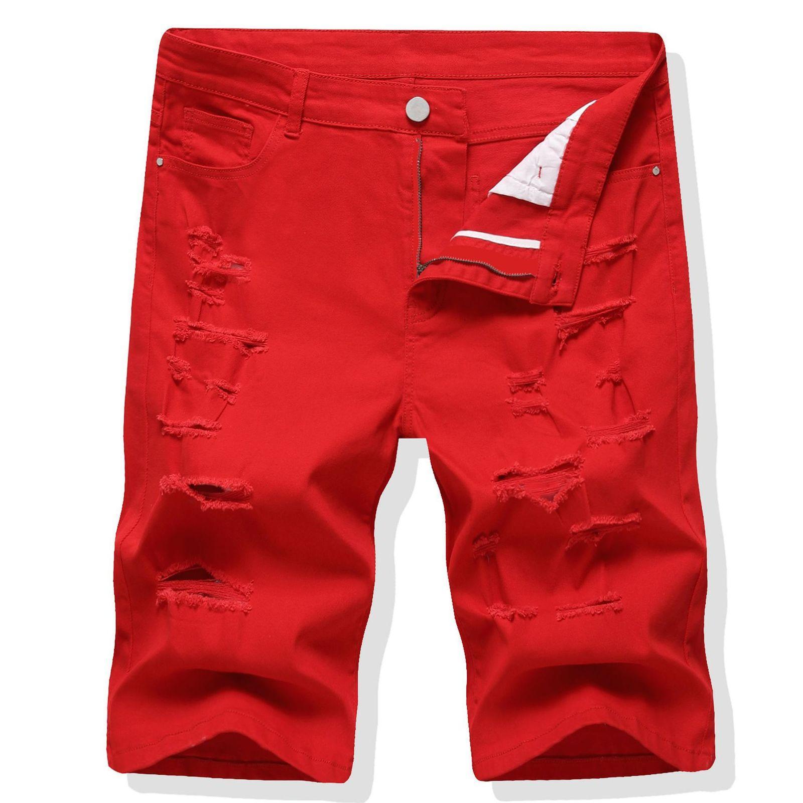 Red elastic men pant fashion trend Jeans Capris 2021 men's pants short