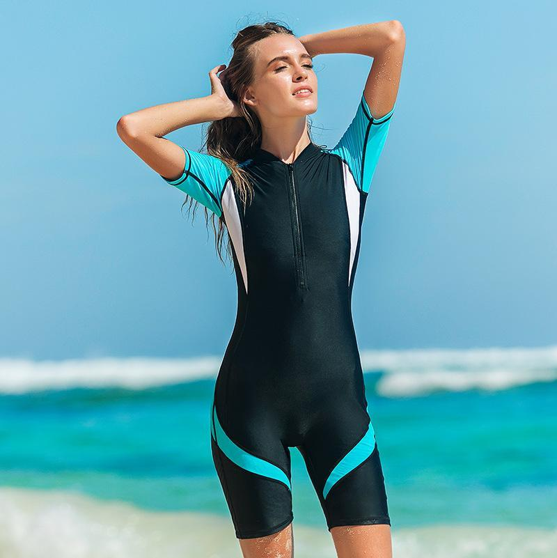Mulheres Swimwear Sbart One Piece Swimsuits Artesaneiras Mulheres Mulheres Wetsuits Surfing Navegação Bodysuits Mangas Curtas 2021