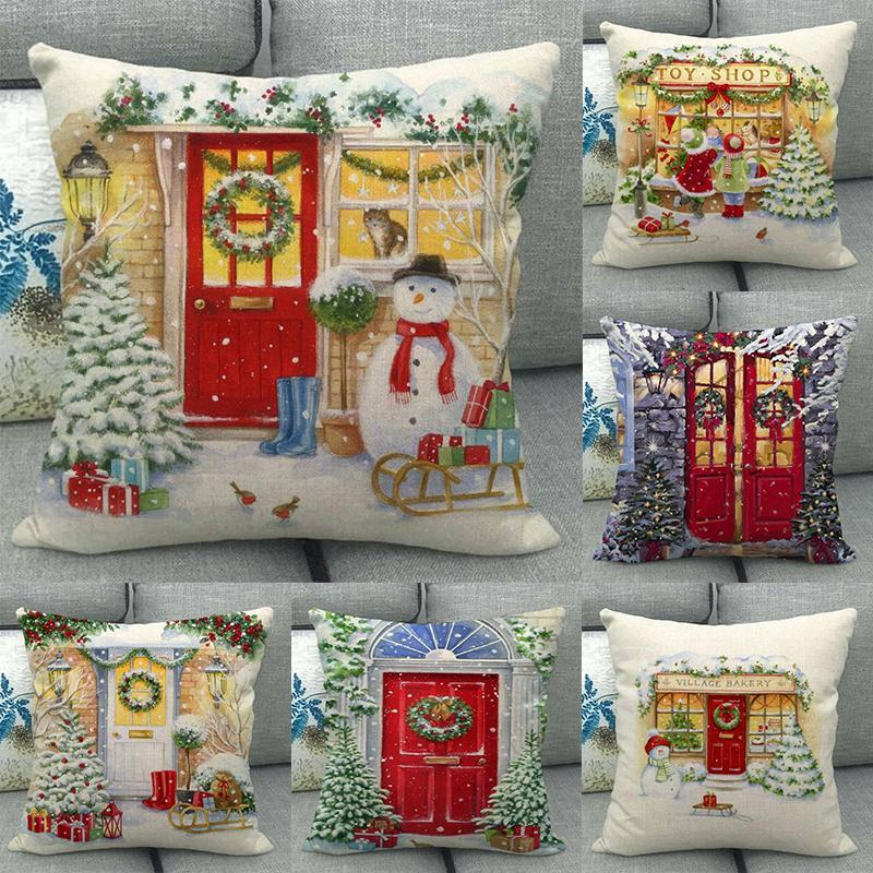 Cushion/Decorative Pillow Year Christmas Home Decor Throw Cushion Cover Cotton Linen Print Pattern Party Decorations Living Room Sofa