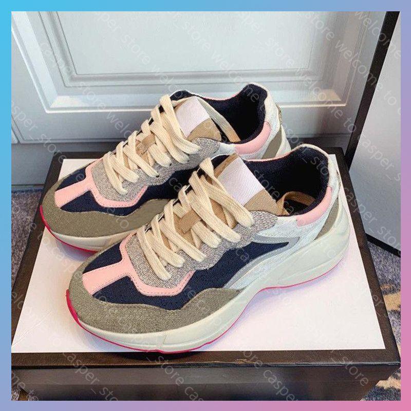 21 Lady Shop Thick Suela de Zapatos Casuales Zapatillas de deporte de cuero Letter Lace-Up Platform Women Cred Fashion Sports Men's Tennis con caja