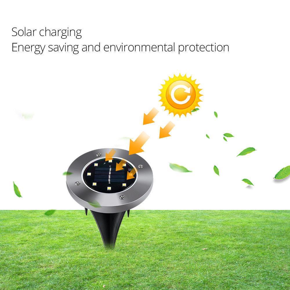 Novos 12pack Luzes de jardim solar 8 LED solar luzes à prova d 'água luz subterrânea sensivel de luzes de paisagem para o caminho de gramado