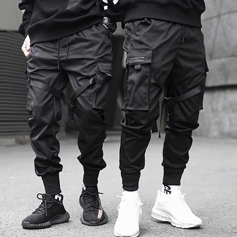 Pantalon de cargo hip hop lactible Hommes Noir Streetwear Harajuku Techwear Pantalons tactiques Pantalons Harem Joggers Pantalons de survêtement Punk 210707