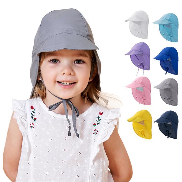 Kids Turban Cap Plain Bucket Hats Summer Beach Hat Casual Sunscreen Caps Foldable Protection Breathable Visor Fashion WMQ1303