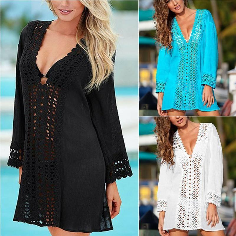 Estate da donna Beachwear all'uncinetto Bikini Cover Up Beach Dress Dress Swimwear Suit Chiffon Maglia Solid Beath Females Sexy 2021