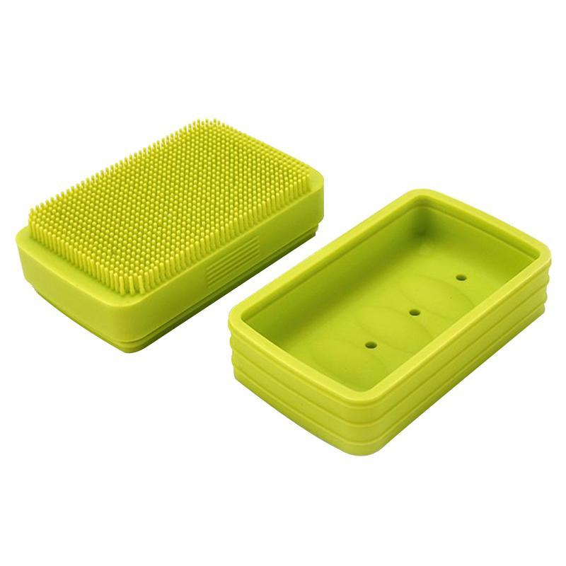Silicone Soap Dishes Tray Holder Storage Rack Plate Box Container Portable Bathroom Dish Bath Brush*