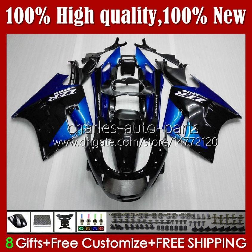OEM Ciało dla Kawasaki Ninja ZZR 1100 CC ZX11 R ZZR-1100 96 97 98 99 00 01 31HC.8 Niebieski czarny magazyn ZX-11R ZX11R ZX 11 R 1191 ZX-11 R ZZR1100 1990 1991 1992 1993 1994 1995 Zestaw targowy