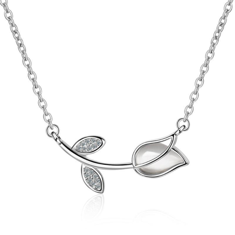 Mode Silvercolor einfache Rose Blume Opals Zirkon Anhänger Halskette Frauen Charme Kurze Schlüsselbein Ins Schmuck Geschenk Halsketten