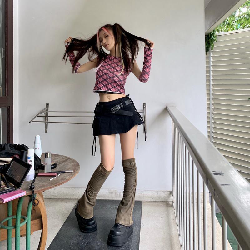 Mädchen Original Harajuku Niedrige Taille Mini Hose Rock Solid Black Punk Schädel Bund Denim CuLotte Plus Größe