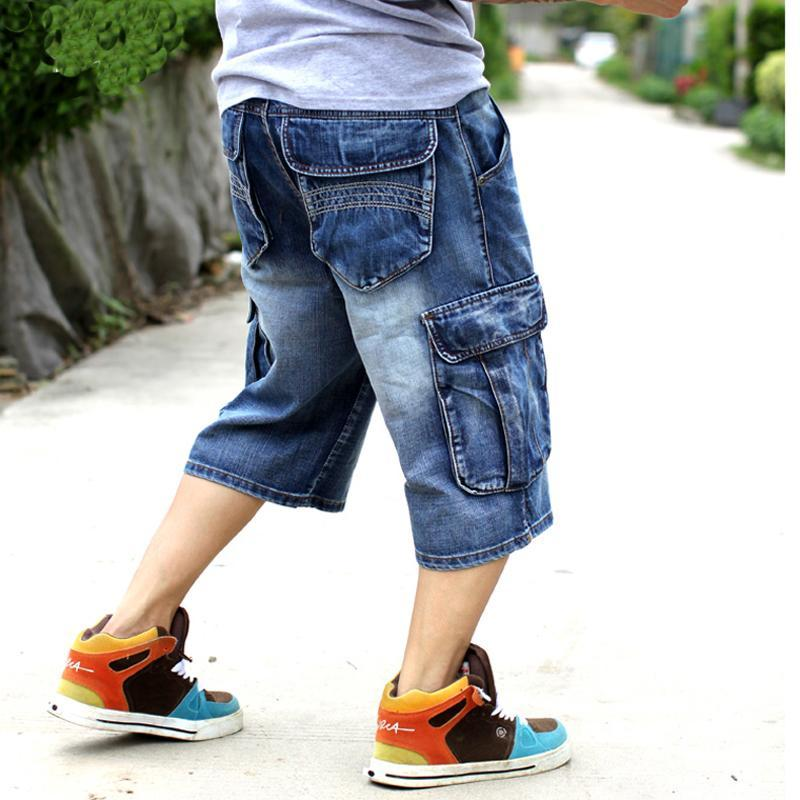 Vaqueros cortos de mezclilla sueltos de hombre azul masculino Moda Streetwear Hip Hop Largo 3/4 Pantalones cortos de carga bolsillo Bermudas Mens Plus Tamaño