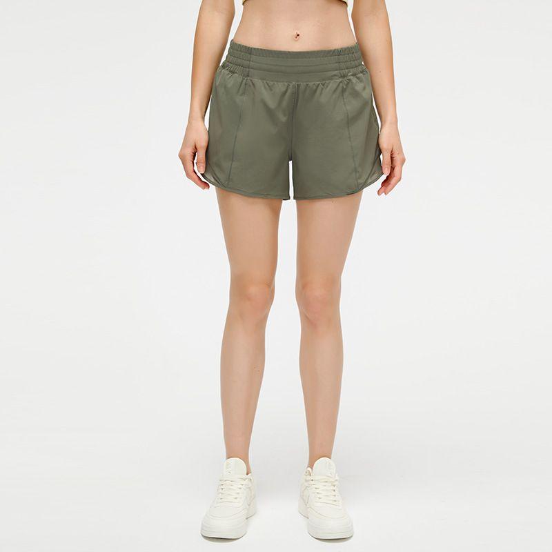 L-091 Йога короткие штаны наряд скрытые молния карманные женские спортивные шорты свободные дышащие повседневные бегущие спортивные одежды девушки тренировки фитнес одежда