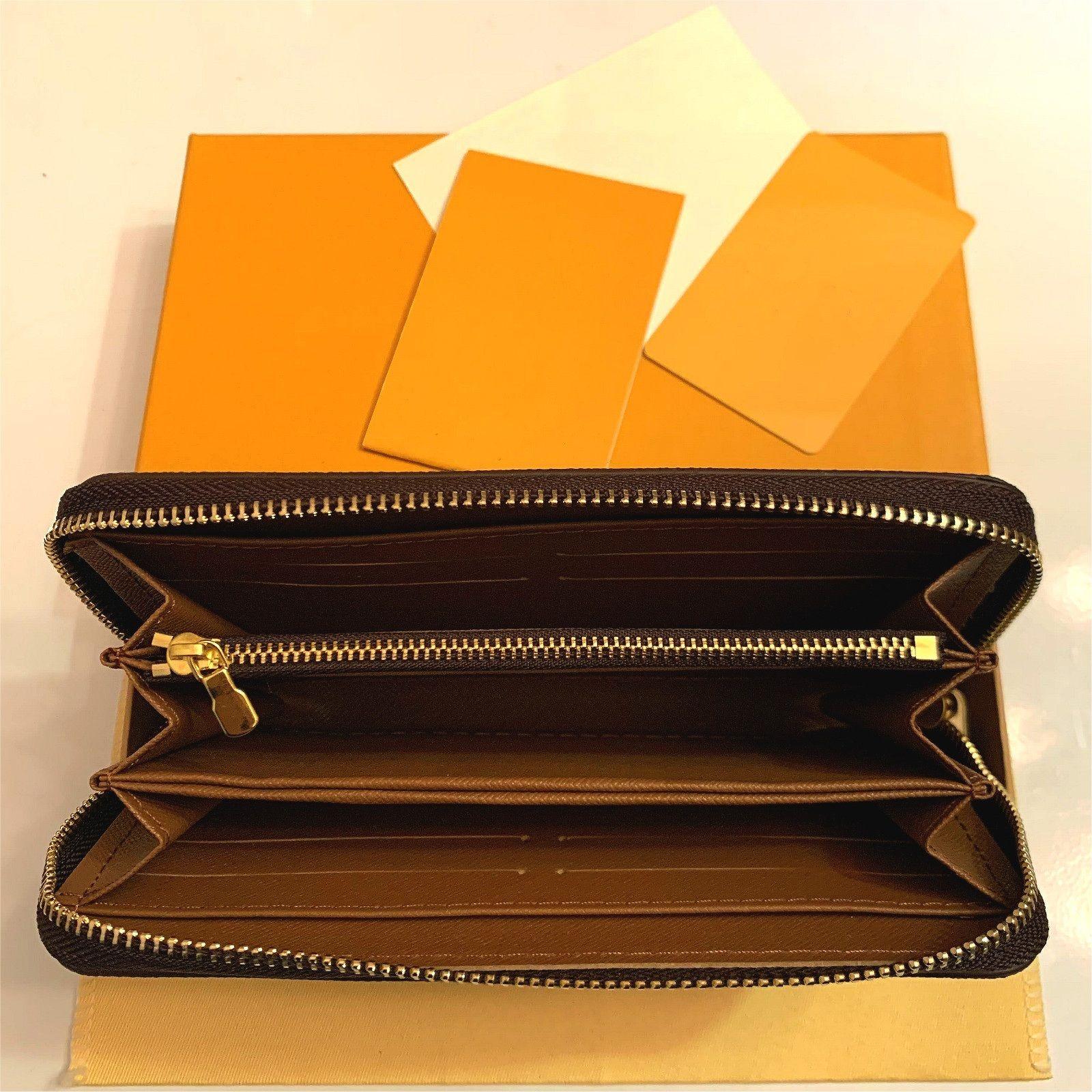 Commercio all'ingrosso 20 colori moda singolo cerniera uomini donne portafoglio in pelle da donna borsa lunga lady con carta scatola arancione 60017