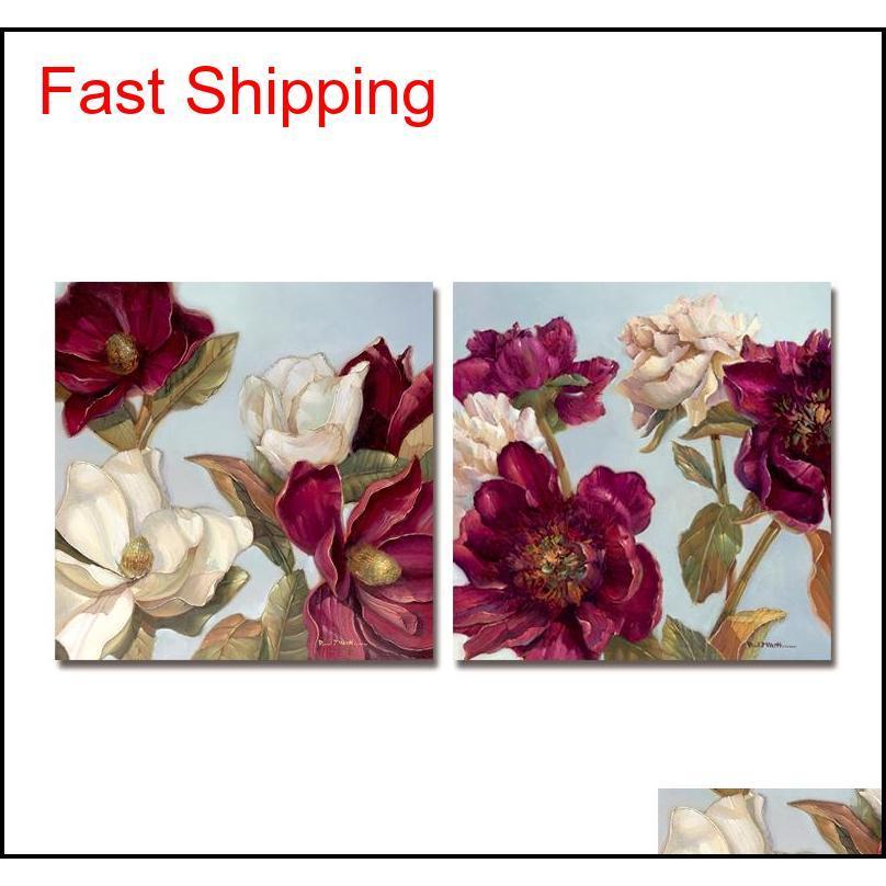 Pintura al óleo Deco El suministros Inicio Jardín Drop Entrega 2021 DYC 10061 2 UNIDS Flores rojas Imprimir arte Listo para colgar pinturas T0S7U