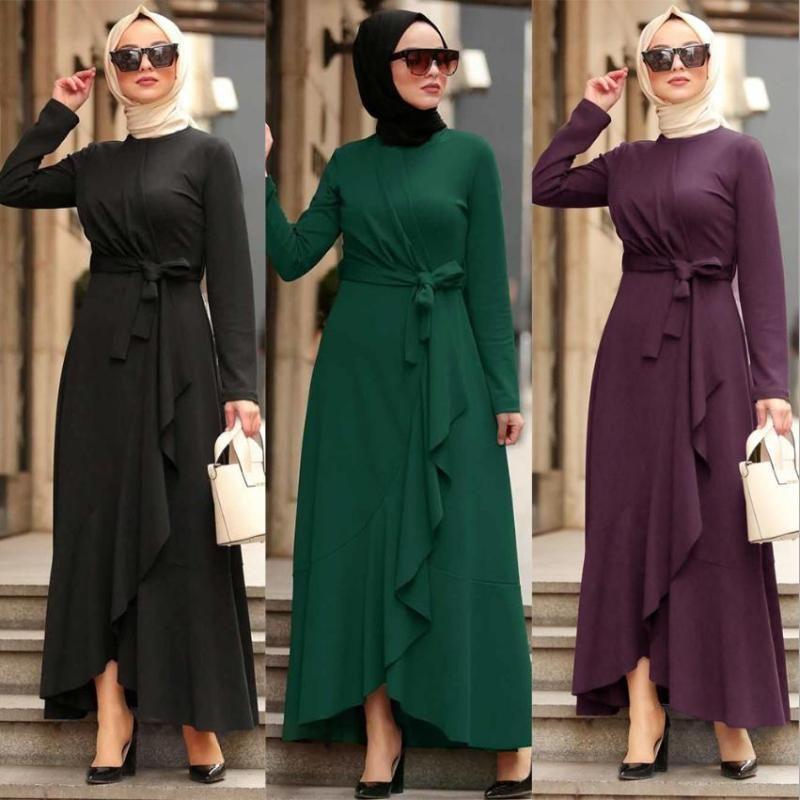 Moda Abiti irregolari a maniche lunghe Musulmani Pegnoir Abiti da donna Abiti femminili Dubai ISLAMIC Turchia con cintura F1732 Abbigliamento etnico