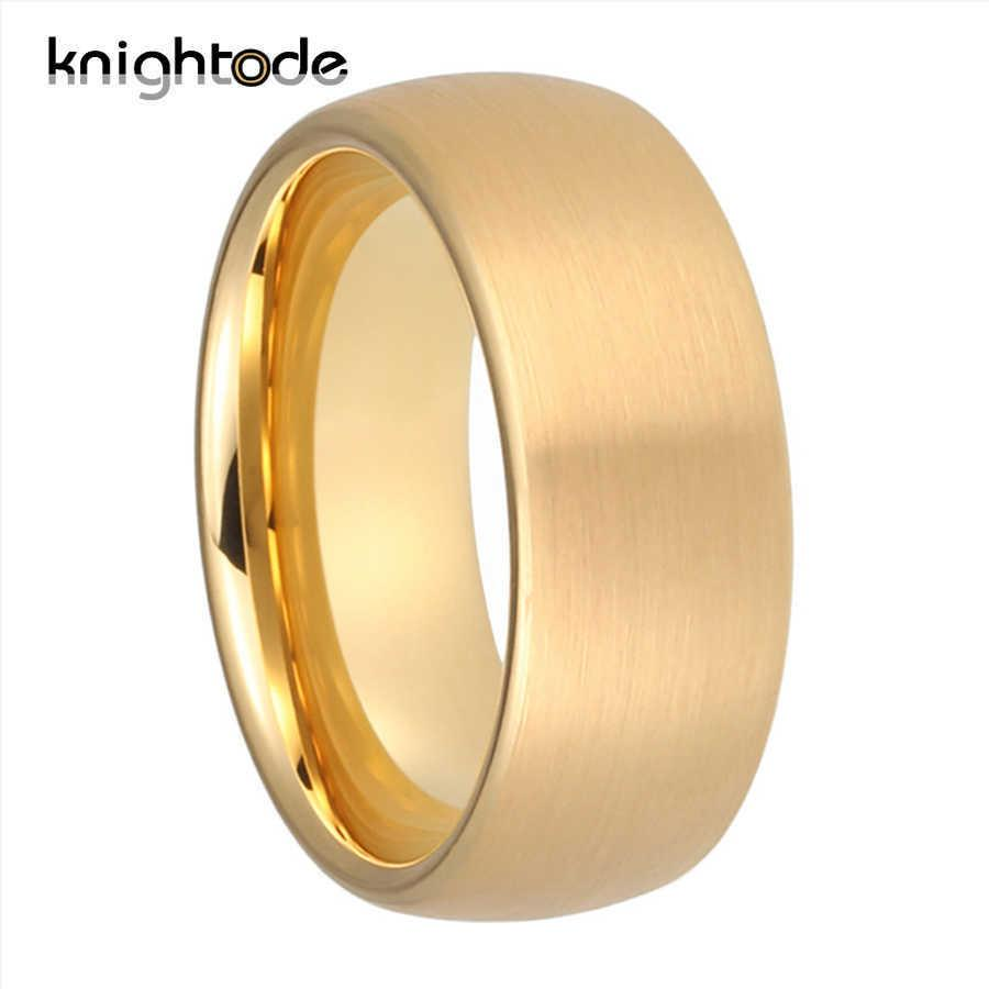6mm 8mm Gold Classic Tungsten Carbide Wedding Band Rings For Men Women Anniversary Rings Dome Brushed Finish Comfort Fit Y0723