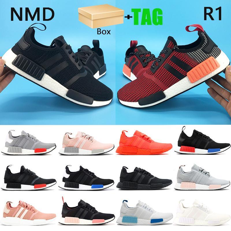 Kutu NMD R1 Erkek Koşu Ayakkabıları Avrupa Özel Yemyeşil Kırmızı Blanch Mavi Üçlü Siyah Beyaz Erkekler Sneakers Bayan Eğitmenler ABD 5-11