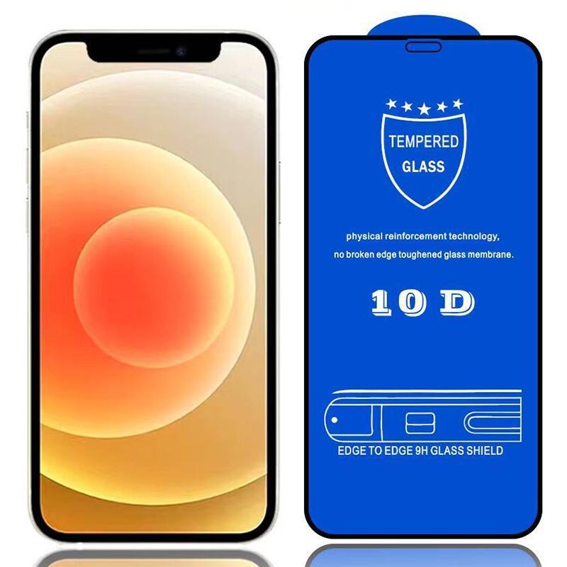 10D強化ガラススクリーンプロテクター本物の9h硬度フル接着剤カバーカバーの湾曲フィルムiPhone 13 Pro最大12ミニ11 xs xr x 8 7 6 6 S Se