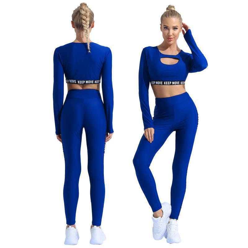 Donne Sport Tracksuits Crop Top con pantaloni Pantaloni Leggings Due pezzi Abiti Homewear Dancewear Set Stage Wear